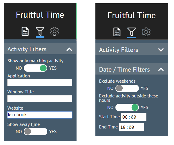 Fruitful Time filters